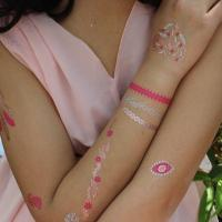 China Hot Sale Gold Silver Foil Jewelry Bracelet Necklace Custom Body Temporary Fake Gold Tattoo on sale