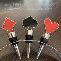 Customized metal wine bottle stopper with enamel poker design Manufactures