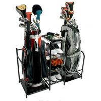 China Heavy Duty Dual Golf Bag Storage Rack With Multiple Storage Compartments on sale