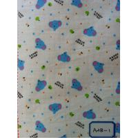 China blue elephant print 100% cotton flannel double side brushed fabric stocklot on sale
