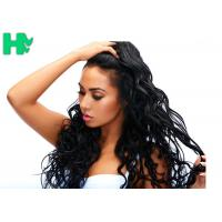 Natural Black Long Synthetic Clip In Hair Extensions , Heat Resistant Synthetic Hair Extension Manufactures
