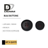 Large Textured Matt Black Trench Coat Buttons Pattern Design With 4 Holes Manufactures