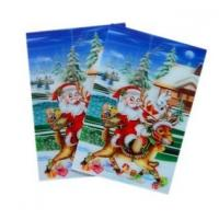 Merry Christmas plastic 3d lenticular lens printing sticker flip animation Wall Sticker Manufactures