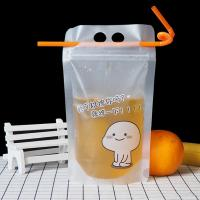 China Ready made warehouse stock reseal clear fruit drinking bags with platic straw ready to ship on sale