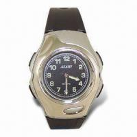 Quartz Analog Watch with PVC Band, ABS Case and Hong Kong Movement Manufactures