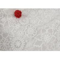 Eco Friendly Nylon Mesh Embroidery White Lace Fabric For Wedding Dresses Anti Static Manufactures