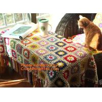 Nordic Hand-woven crochet hook Daisy striped blanket, Cashmere knitted blanket, sofa blank Manufactures