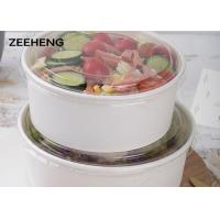 China 250ml-1500ml Disposable Eco-friendly food grade white paper salad round bowl on sale