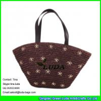 LUDA  wheat straw totes embroidery flower straw shopping beach bag for women Manufactures