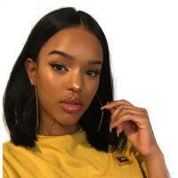 10 Inch Short Straight Black Human Hair Lace Front Wigs / Pre Plucked Bob Wigs Manufactures