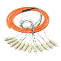 Orange 12 core SC UPC optical fiber patch cord with CE , multimode fiber patch cord Manufactures