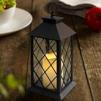 China Vintage Indoor Black Lantern Flameless LED Candles With Plastic Wavy And Drip on sale