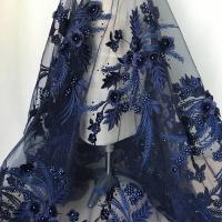 Navy Blue 3D Flower Lace Fabric with Pearl Beaded Applique for Ladies Dress Manufactures