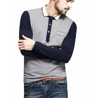 Color Block Ribbed Mens Polo T Shirts With Sleeves Placket Unfunctional Pocket Manufactures