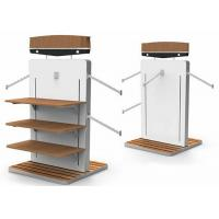 MDF White Gondola Clothing Display Rack With Wooden Shelves Or Bottom Cabinet Manufactures