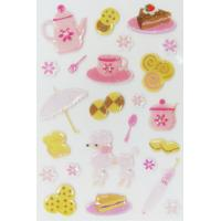 Customized 3d Puffy Stickers , Funny Tea Time Kids Puffy Stickers PVC + PET Manufactures