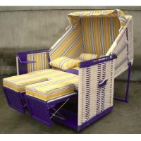 China Fir Wood And PE Rattan Roofed Beach Chair With 260g Terylele Fabric on sale