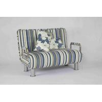 30KG Modern Home Sofa Bed Rounded Edges With Chrome Legs Armrest Blue And White Manufactures