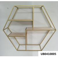 Wood Iron Hexagonal Grid Wall Shelf Wall Hanging Display Storage Rack Wall Decoration For Kitchen Living Room Manufactures