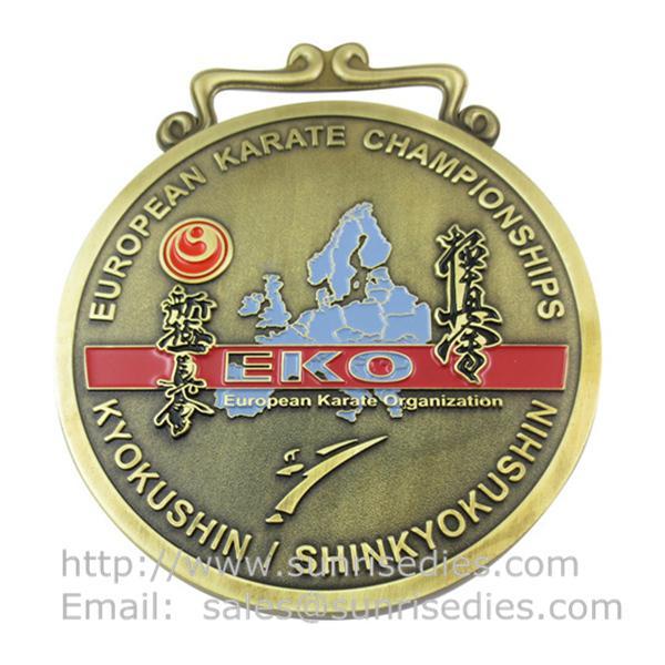 2D engraved metal Karate medals