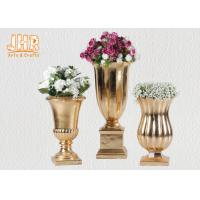 Quality Small Table Vases Fiberglass Flower Pots Gold Leaf Plant Pots Indoor Use for sale