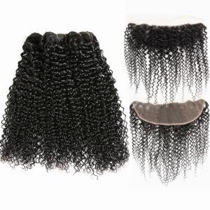 China Kinky Curl Undye Color 3 Bundles Peruvian Virgin Hair Weave Wih Frontal No Shedding on sale