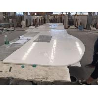 Single Sink Quartz Stone Countertops , Flat / Eased Edge Prefab Quartz Vanity