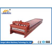 Red color Glazed Tile Roll Forming Machine , 10-15m/min Glazed Tile Making Machine Manufactures