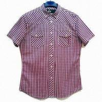 China Men's Shirt with Twin Chest Flap Pockets, 100% Yarn Dyed Cotton Fabric Material on sale