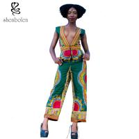 Deep V Neck Sleevless African Wear Print Jumpsuit Designs For Womens / Ladies Manufactures