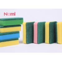 Heavy Duty Scrub Clean Dish Sponge , Yellow / Green Kitchen Cleaning Pad Manufactures