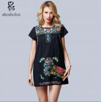 Mini Length Womens Embroidered Floral Dress Short Sleeve Casual Dress Manufactures