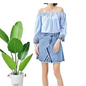Fashionable Floral Off Shoulder Ladies Denim Top , Off Crop Sexy Denim Blouse Manufactures