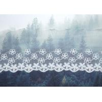 Custom Floral Embroidered Mesh Nylon Lace Trim With Scalloped Edge By Oeko Tex Manufactures