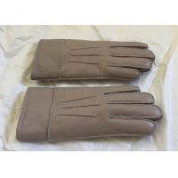 Double Face Mens Sheepskin Lined Leather Gloves Soft Warm For Winter / Driving Manufactures
