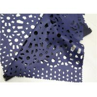 China Navy Blue Punched Leather PU+ Polyester Composition Anti - Aging For Garment on sale