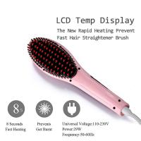 Electric ceramic hair straightening brush fast heat up hair styler Manufactures