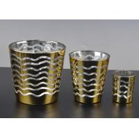 Decorative Glass Candle Holders , Electroplating Glass Tea Candle Holders
