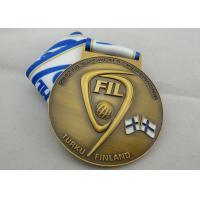 FIL U-19 Copper / Zinc Alloy / Pewter World Championship Ribbon Medals with Die Casting Manufactures