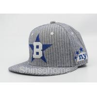 Flat Brim 100 Cotton Baseball Caps For Kids / Adults , Baseball Snapback Hats Manufactures