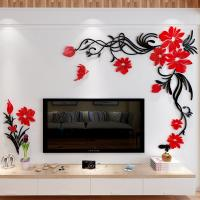 3D Flower  Acrylic wall stickers Living Room Sofa wall decor decals  decoration wall decal Manufactures