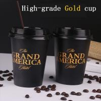 Disposable paper cup Thickening coffee cup Milk tea cup hot drink cup High-grade gold printed cup with plastic lid Manufactures
