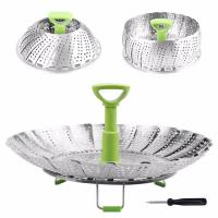 Folding SS Stainless Steel Steamer Basket For Food Fruit Vegetable Storage Manufactures