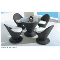 modern pe rattan Pubs dining table chair furniture set Manufactures