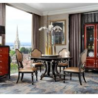 New classic Luxury Furniture Round Dining Tables and Wine Cabinet in glossy painting with Leather Upholstered Chairs Manufactures