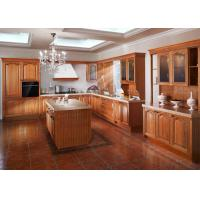China Island Birch Wood Venner Kitchen Cabinets With Quartz Countertops Waterproof on sale