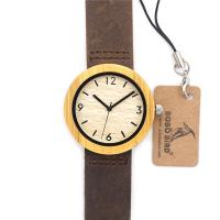 New arrival ladies leather band watch with wooden case hot sale in Europe and USA