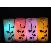 Rose Carved Wedding Led Candles Battery Operated With Color Changing Manufactures