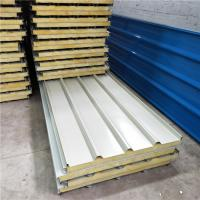 China 60kg rock wool corrugated roof sandwich panel for fast cosntruction buildings on sale