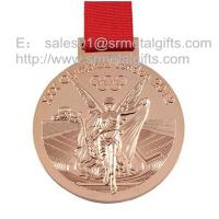 China Polished bronze Olympic games medals with ribbon, Olympics trophy and award medals, on sale